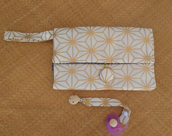 Nappy Wallet integrated with waterproof Change Mat - three or two pockets -nappy bag- gold diamonds