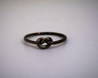 Sailor knot in oxidized sterling silver rhodium black MIDI ring