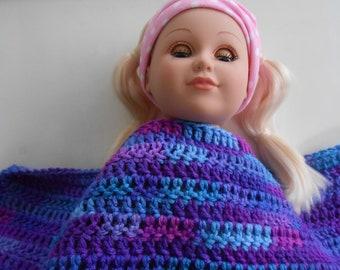 Crochet Doll Blanket for 18 inch Doll Grape Fizz