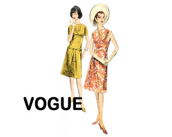 Vintage Vogue 60s Dress Easy to Make Sewing Pattern Bust 34 Size 14 High waist bodice and slit front neckline Vogue 5804