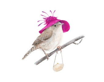 """No.10 - """"House Wren with Fancy Hat"""" - high-quality 8x10"""" giclée fine art print, signed by artist"""
