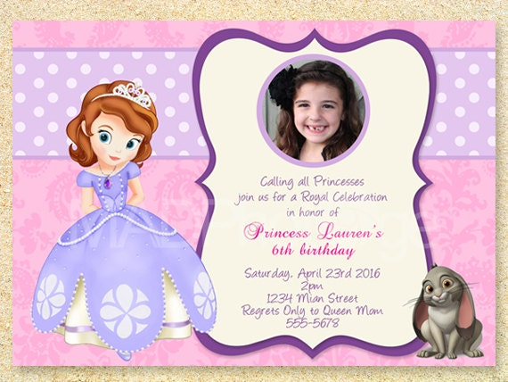 Sofia the first birthday invitation princess sofia party sofia the first birthday invitation princess sofia party printable princess invitation photo card birth announcement baby invitation stopboris Images