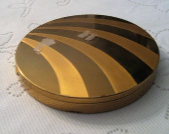 Vintage Goldtone Brass Powder Compact 4 1/2 Inches 2 Tone Swirls Hinged Mirror Mid Century Compact Purse Accessory Vanity Dresser Adornment