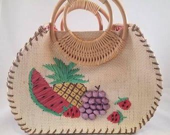 Vintage Straw Handbag with Raffia Fruit and Checkerboard Lining