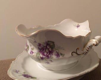 Vintage LS & S Carlsbad Austria Gravy Boat w/ attached underplate- purple flower pattern