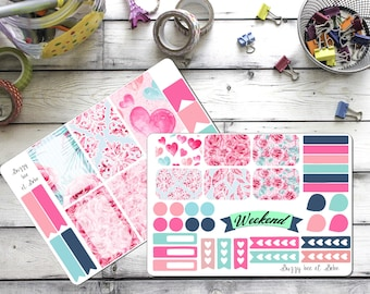 Watercolor love weekly planner sticker set. Ec or happy planner, or personal sized available
