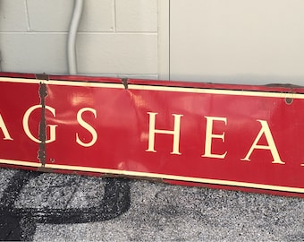 Vintage Porcelain Nags Head North Carolina sign metal 18x95 shipping is not free give