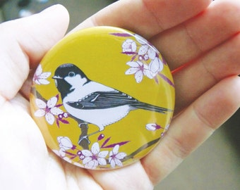 Cherry blossom & coal tit pocket mirror