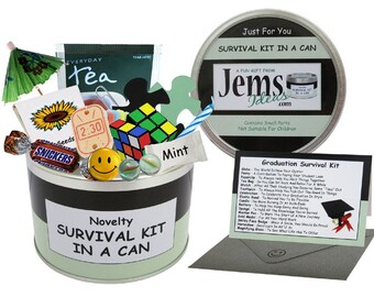 Graduation Survival Kit In A Can. Fun Gift & Card For College/Degree/Masters. OTHER COLOURS AVAILABLE