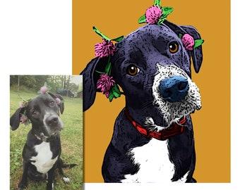 Pop art pet Portraits, custom pet portrait, unique gifts, funny gifts, custom dog pop art portrait, dog art, custom pet digital print