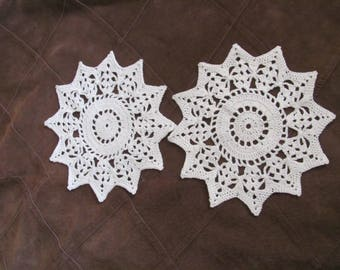 "Doily Set of 2 Vintage Handmade Crocheted Doily 7"" Inch Round (#1B)"