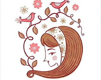 Spring Flowers Hairdo Birds Woman Girl Pretty Pink Limited Edition Gocco Screenprint