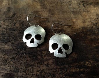 half skull earrings, sterling silver domed skull, human skull earrings, Halloween earrings, day of the dead earrings, memento mori earrings