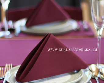 Burgundy Napkin 20 x 20 inches   Burgundy Wedding Napkins, Wine Napkins, Wholesale Cloth Napkins, Burgundy Table Linens, Wedding Table Decor