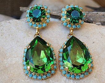 Turquoise and Emerald Drop Shaped Earrings, Halo Swarovski Earrings, Green Crystal Earrings, Gold Emerald Earrings, May Birthstone Earrings