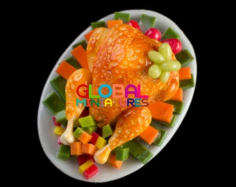 Dollhouse Miniatures Thanksgiving Meal Dish of Whole Roasted Turkey Dinner Food Decoration Supply - 1:12 Scale
