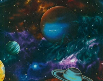 Planets, outer space, solar system fabric, galaxy fabric, stars fabric, nebula fabric, Milky Way, novelty fabric