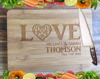 LOVE Wedding Board - Personalised Engraved Bamboo Chopping Board