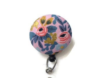 Retractable Id Badge - Rifle Paper Co - Pink Floral Badge Reel - Flower Badge Reel - Badge Reel Nurse - Id Badge Holder - Name Badge Holder