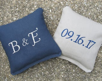 Personalized Wedding Cornhole Game Bags - Initials and Date - Set of 8 Shown in Navy Blue and Grey - Great Gift!!