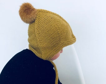 Knitted Ear Flap Beanie // Handmade Real Fur Pom Pom Hat
