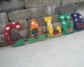 Custom  hand painted Nursery letters- Train theme