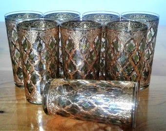 Eight Vintage Mid Century Modern Culver Valencia 22 K. Gold Decorated Highball Bar Glasses