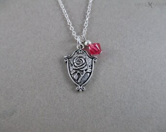 Beauty and the Beast  Rose Charm Necklace - Silver Charm
