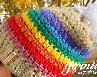 Cozy Bobble Pom Pom Hat - Knit / Crochet beanie - Rainbow White Bobble Great for the Autumn Fall Winter Cheerful Season