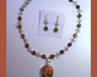 UNAKITE Pendant On A Unakite Beaded Necklace With Matching Earrings -- Handcrafted Sterling Silver 4 Leaf Clover Design –- Made In Maine