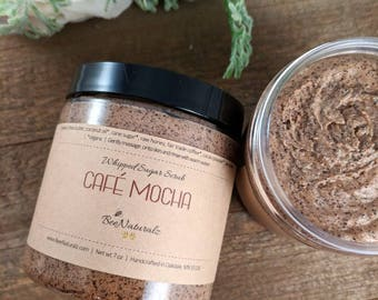 Sugar scrub, coffee scrub, shea butter, mocha scrub, dry skin, exfoliating scrub, gift for her, body scrub, natural scrub, treat yo self