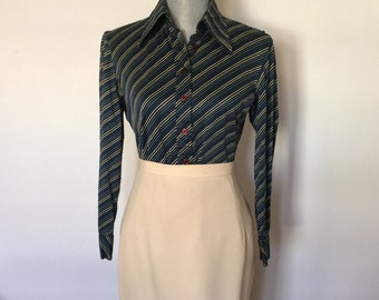 XS-S 1970's Striped Jacques Fath Blouse Paris 100% Cotton Extra Small-Small