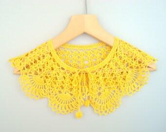 Dentelle jaune au crochet robe gros Collier Collier fait à la main de Peter Pan amovible Crochet Bohème collier automne été mariage accessoires de mode
