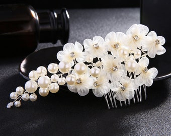 Floral Bridal Comb,Floral Wedding Comb,Bridal Hair Comb,Wedding Hair Accessory,Crystal Hair Comb,Pearl Comb,Bridal Headpiece HS-J4466