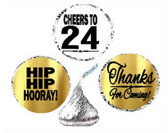 24th Birthday Anniversary Hooray Thanks For Coming Stickers / Labels for  Hershey's Kisses Party Favors Decorations - 216pk