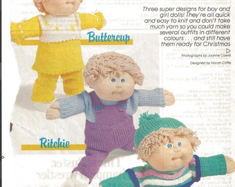 Vintage Knitting Pattern Cabbage Patch Doll Three Outfits Family Circle Magazine 1986