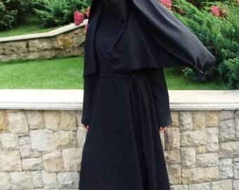Black full niqab, traditional niqab,black burqa, Elegant hijab, black veil, 1 piece hijab, ready  to wear hijab,  prayer scarf,arab headwear