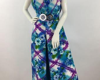 1970s windsor dress, 70s vintage maxi dress, bright floral colors