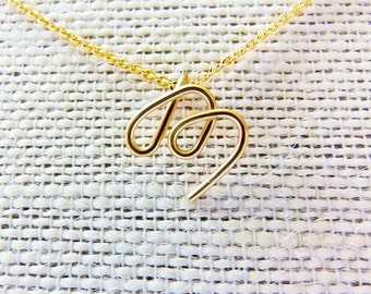 Initial M Necklace, Letter M Necklace, Gold Initial Necklace, Cursive Letter Necklace, Letter Necklace, Initial Necklace, Personalized