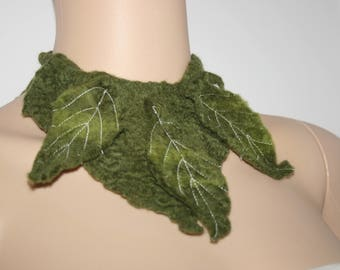 Earthy Felted Neck Warmer Merino Wool.OOAK. Green. Hand made.Cowl.Neck Cuff. Wet Felted Tree Leaf Scarf/Shawl/Necklace