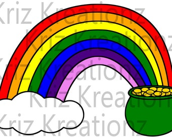 Pot of Gold with Rainbow SVG Cut File