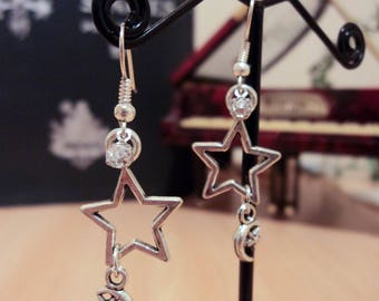 Earrings star and moon - Silver - 5cm