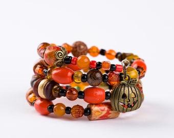 Halloween Harvest Bracelet. Beaded Wire Layered Wrap Bracelet.