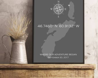 GPS Coordinates Sign, Latitude Longitude Sign, Custom Coordinates Sign, Housewarming Gift, Wedding Gift, Address Sign, Established Sign