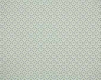 1950s Vintage Wallpaper by the Yard - Green Geometric on White