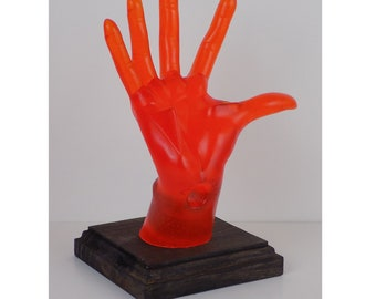 Orange Female, POP-Hands, Colorful device holder for phones, tablets, business cards, etc. Customize the base color