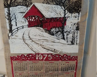 Vintage 1975 Linen Tea Towel/Calendar