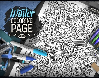 WINTER Digital Coloring Page, Wintertime Adult Coloring, Printable Coloring, Hello Winter Doodles Art, Doodling, Digital Download, Zendoodle