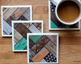 Table Coasters - Rustic Coasters - Coaster - Tile Coaster - Chevron Decor - Coasters for Drinks - Coasters Tile - Handmade Coasters
