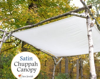 Jewish Wedding Chuppah Canopy - Satin - Wedding Chuppah Canopy - White Huppah Canopy - Wedding Huppah Canopy - Jewish Weddings Canopy